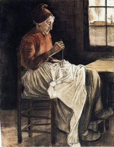 Vincent van Gogh - Woman Sewing - 1881.