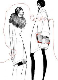 Chic fashion illustration in red, black & white // Bijou Karman