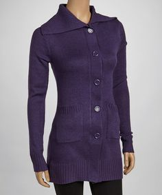 Take a look at this Plum Ribbed-Trim Long Cardigan - Women by Ami Sanzuri on #zulily today!