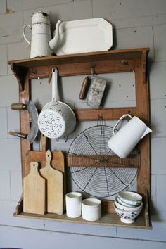 For the kitchen - this amazing repurposed rack to hold your kitchen gadgets and tools! For the kitchen - this amazing repurposed rack to hold your kitchen gadgets and tools! Kitchen Items, Kitchen Gadgets, Kitchen Storage, Kitchen Decor, Kitchen Rack, Kitchen Display, Wall Storage, Kitchen Organization, Shabby Vintage