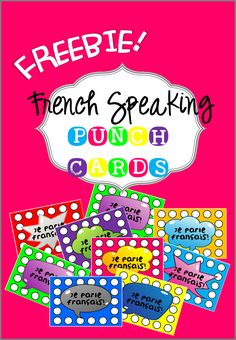 FREE French Speaking Punch Cards – a fun and practical way to get your students to ONLY speak French in class. French Teaching Resources, Teaching French, Teaching Spanish, Spanish Activities, Teaching Tips, Teaching Reading, How To Speak French, Learn French, Communication Orale