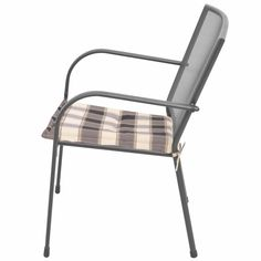 Stackable Garden Chairs 2 Piece with Cushions Steel Grey