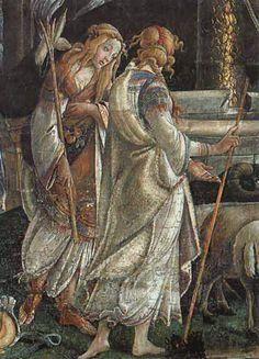 """Odette de Crécy, parecida a Céfora, hija de Jatro y esposa de Moisés, que Botticelli pintara en   uno de los muros de la Capilla Sixtina (""""Los juicios de Moisés"""",   1481-1482)."""
