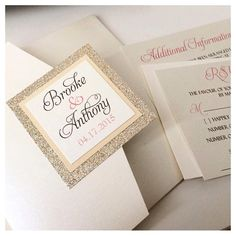 Color Customizable Pocketfold Invitation with Beautiful Glitter Backing on Etsy, $7.50 CAD