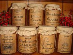 Christmas free labels primitive | Free Primitive Jar Labels | Primitive Rustic Grubby Grungy Jar Candles ...