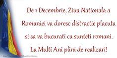 De 1 Decembrie, Ziua Nationala a Romaniei va doresc distractie placuta si sa va bucurati ca sunteti romani. La Multi Ani plini de realizari! Romania