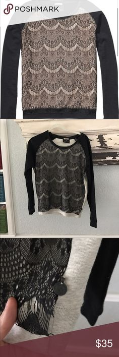 Maison Scotch lace sweater Great preowned condition.  Love this for those breezy days.Size says Petite.  It's  for an individual who wears size small maison scotch Sweaters