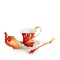 Franz Collection Phoenix in Flight Cup & Saucer with Spoon