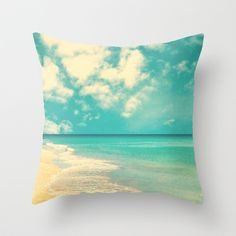 Waves of the sea (retro beach and blue sky) Throw Pillow by AC Photography - $20.00  16x16 at Society 6