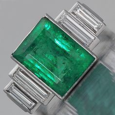 Artistic Engagement Rings on Art Deco Emerald Engagement Ring
