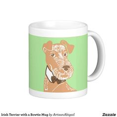 Irish Terrier with a Bow tie Mug; Abigail Davidson Art; ArtisanAbigail at Zazzle