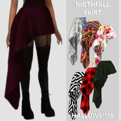 3db9d3307fcf7 Lana CC Finds — simshallow: Nightfall Skirt - 42 swatches; -... Sims 4 ...