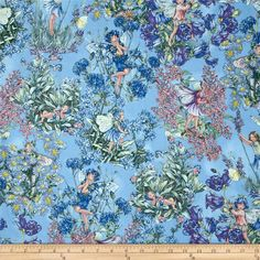 Designed for Michael Miller Fabrics, this fabric features adorable flower fairies hidden among flower bouquets. The color palette includes rose, aster blue, cornflower blue, peach and soft green on a periwinkle background with silver metallic accents throughout. Use for quilting and craft projects.