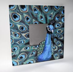 This hand painted peacock mirror is a beautiful wall accent for any room. The peacock is on the frame and the mirror surface to make a unique and lovely art piece. I painted this peacock on an IKEA Malma mirror I used acrylic gloss enamel paint. Mirror Painting, Mirror Art, Diy Mirror, Peacock Mirror, Peacock Pictures, Diy Wall Decor For Bedroom, Ikea Mirror, Arts And Crafts Projects, Diy Frame