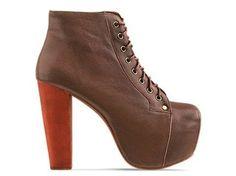 Jeffrey Campbell Lita High Heel Bootie - Brown Leather,$152.00