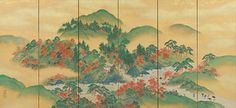 Renowned for their displays of seasonal colors, two famous sites (meisho) in the mountains west of Kyoto are depicted in this pair of six-panel folding screens: the spring blossoms of cherry trees growing wild on the hillsides of Arashiyama and the autumn blaze of red maples in Takao