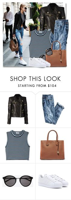 """""""CASUAL DAYS"""" by sara-488 ❤ liked on Polyvore featuring Balmain, J.Crew, A.L.C., MICHAEL Michael Kors, Yves Saint Laurent, adidas, croptop, Leather and sunglasses"""