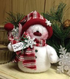 "Primitive HC Holiday Christmas Doll Snowman Snowflake 6.5"" Super Cute! #IsntThatCute #Christmas"