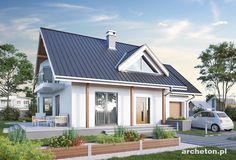 Projekt domu Majka Solis - dom z tarasem okrążającym budynek z dwóch stron beton komórkowy - Archeton.pl