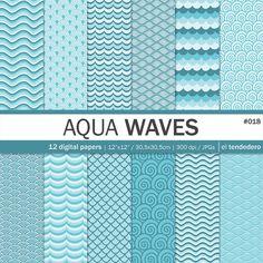"Wave digital paper pack ""aqua waves"""