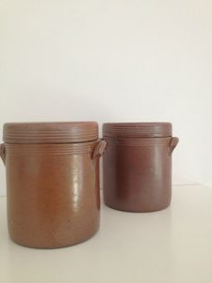 vintage French pottery canisters by RosyRandom on Etsy, $18.00