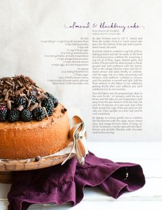 Almond and Blackberry Cake, with a hint of chocolate