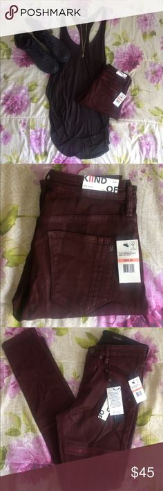 Kiind Of Red Moto Stretch Sexy Skinny Pants Richly Dyed Magenta  Button-Zip Fly Waist Across is 13 1/2 Inches Inseam is 31 Inches Leg Opening is 10 Inches Hips Across is 16 1/2 Inches Rise is 9 1/2 Inches Patch Pocket Material is 68% Cotton/29% Polyester/3% Elastane Kiind Of Pants Skinny