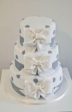 Bow polka dot wedding cake