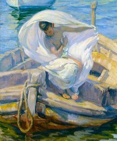 Saliendo del baño, de José Mongrell (1923). Fue discípulo de Sorolla, de quien toma los valores y rasgos del luminismo. Así se ve en el propio tema, el de los bañistas adolescentes, aunque en su caso tratado con un matiz más pudoroso e intimista que en el de Sorolla. También se aprecia la influencia del maestro en las barcas, la luz, el viento, el vitalismo y la búsqueda del lado amable de las cosas, todas ellas apreciables en este cuadro.
