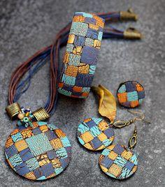 jewelry, jewelry, polymer clay, necklace, necklace, pendant, boho, ethnic, big jewelry, boho style, decorations from polymer clay