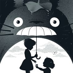 """My Neighbor Totoro""Screen Print (18'x24' - Edition of 50) made for the ""Miscellaneous Mayhem"", collective art show at Bottleneck Gallery, Brooklyn, NY."