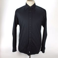 Tailorbyrd Dress Shirt Mens size Large Spread Collar Classic Fit Black Cotton #TailorByrd