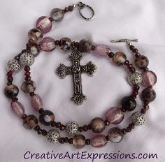 Creative Art Expressions Handmade Amethyst Prayer Beads Necklace Jewelry Design  #PrayerBeads