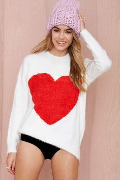 Nasty Gal Heart On Fuzzy Sweater | Shop Clothes at Nasty Gal
