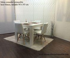 Robusta y elegante mesa de comedor extensible en for Mesa 80x80 extensible
