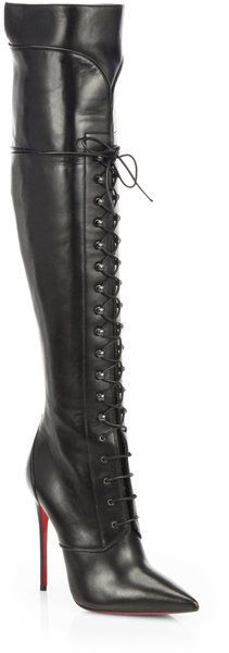 Mado Leather Lace-up Over the knee Boots - Christian Louboutin   -   Little bit of FemDom, but then again, these aren't screaming virgin :) Would be awesome paired with a dark colored skirt that barely touches the top of the boots, and then a demure suit jacket to top things off...