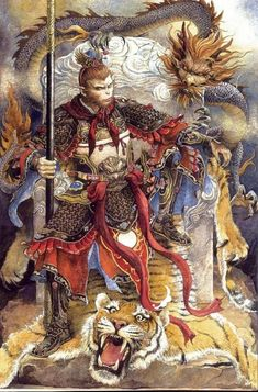 """Sun Wukong, also known as the Monkey King: total jerk-tastic Chinese god who fought the Buddha and smashed monsters in the head with a weighted rod. Mythological Creatures, Mythical Creatures, Fantasy Kunst, Fantasy Art, Chinese Mythology, Journey To The West, Monkey King, In China, Tolkien"