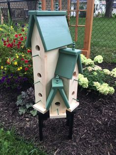 Large Handcrafted Wooden Bird House Condo Birdhouse | eBay