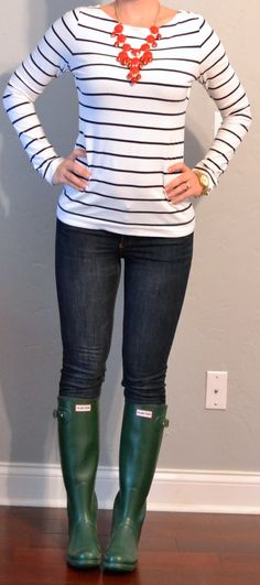 "Top: Black and white striped shirt - H   Bottom: Denim skinny jeans - Target     Shoes: Green ""wellies"" rain boots - Hunter    Accessories:Gold link watch - Michael Kors     Red bubble necklace - eBay"