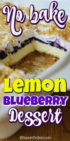 Blueberry Desserts, Cheesecake Desserts, No Cook Desserts, Easy Desserts, Delicious Desserts, Raspberry Cheesecake, Lemon Dessert Recipes, Fun Recipes, Recipies
