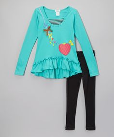 Look at this #zulilyfind! Teal Necklace Ruffle Tunic & Leggings - Toddler & Girls #zulilyfinds