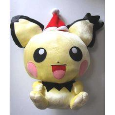 Pokemon 2009 Banpresto UFO Game Catcher Prize Notched Ear Pichu Christmas Extra Large Size Plush Toy