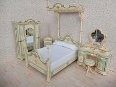 Details about  1:12 Dollhouse Miniature Furniture Hand Painted Belmont Blue Bedroom Set Vanity