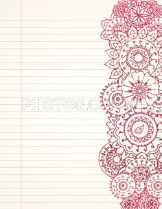 Stock Illustrations: Hand Drawn Henna Border On Lined Paper. Pattern