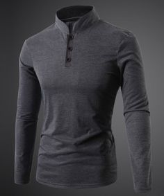 Three Button Single-Breasted Solid Color Stand Collar Long Sleeves Men's Fitted T-Shirt