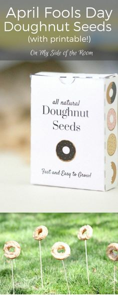 April Fools Day activity for kids. Print off the doughnut seed packet printable, add some 'seeds' and watch them grow. (Oh and a stop a your local doughnut shop!) This is a fun and simple activity for little ones and will help keep the magic alive!  What are you up to for April Fools? Click to get your free printable!