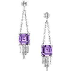 Ivanka Trump Empire Amethyst Diamond Fringe Dangle Earrings (200,620 INR) ❤ liked on Polyvore featuring jewelry, earrings, brinco, dangle post earrings, amethyst dangle earrings, 18k earrings, long post earrings and 18 karat gold earrings