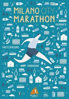 Poster design for Milano City Marathon. Marathon Logo, Marathon Posters, City Marathon, Marathon Running, Running Art, Running Posters, Sports Posters, Sports Art, Sports Wallpapers