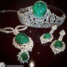 Emerald and diamond parure, consisting of a tiara, set with emerald weighing 187.5 carats, a necklace, earrings, a ring, total emerald weight more than 376 carats by beladorajewelry