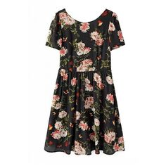 LUCLUC Cut Out Floral print Scoop Chiffon Skater Dress ($20) ❤ liked on Polyvore featuring dresses, lucluc, vestidos, tops, flower print skater dress, floral printed dress, floral dress, floral print dress and floral cut out dress